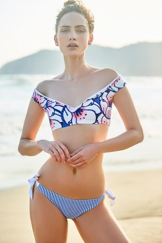 Cotton Fashion  Swimsuit  (White-S printing) NHHL0191-White-S printing