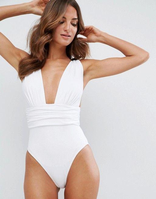 Polyester Fashion  Swimsuit  (White-S) NHHL0305-White-S