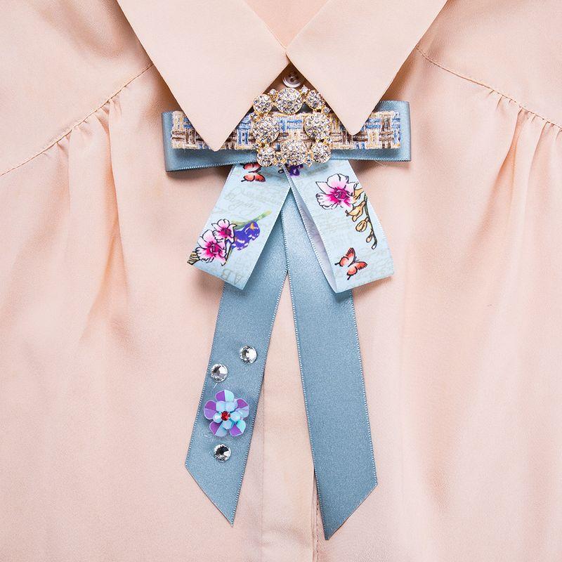 Fashion Alloy Rhinestone brooch Bows (blue)  NHJE0999-blue