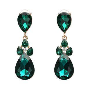Imitated crystal&CZ Fashion Geometric earring  (green) NHJJ3969-green's discount tags