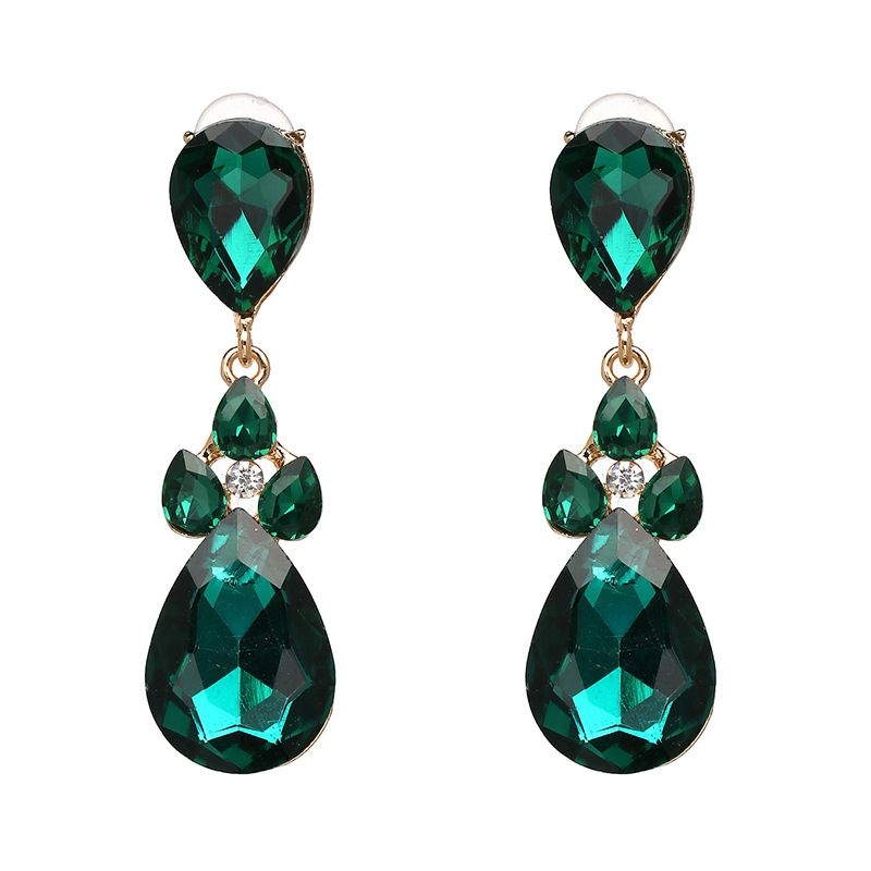 Imitated crystal&CZ Fashion Geometric earring  (green) NHJJ3969-green