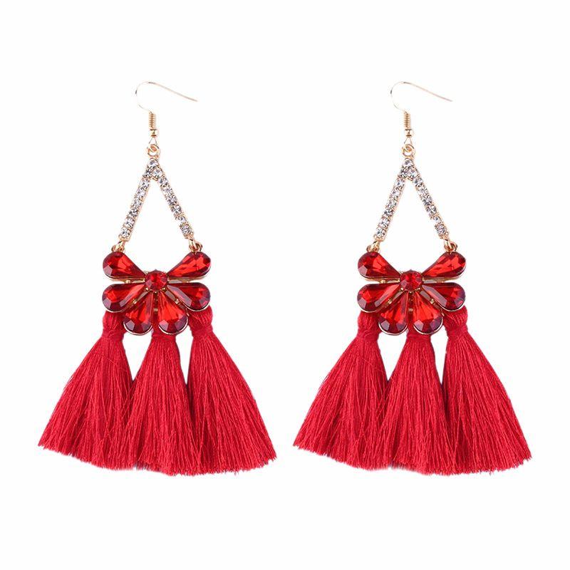 Alloy Fashion Geometric earring  (red) NHJQ9877-red