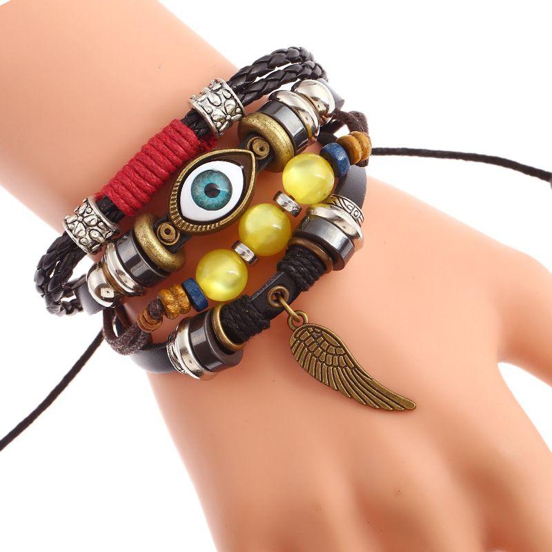 Leather Fashion Geometric bracelet  (Photo Color) NHPK1243-Photo Color