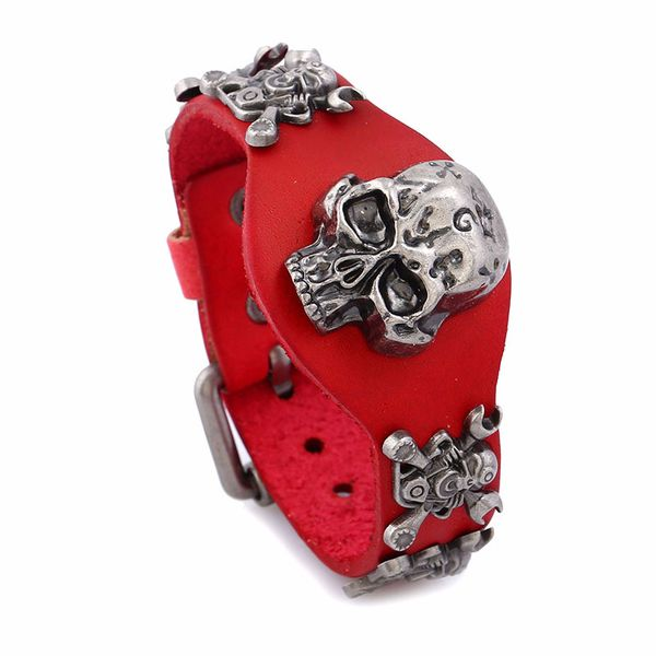Leather Fashion Geometric bracelet  (Big red) NHPK1246-Big red