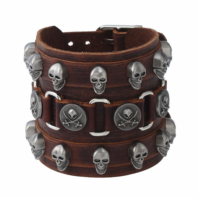 Leather Fashion Geometric bracelet  (Photo Color) NHPK1252-Photo Color