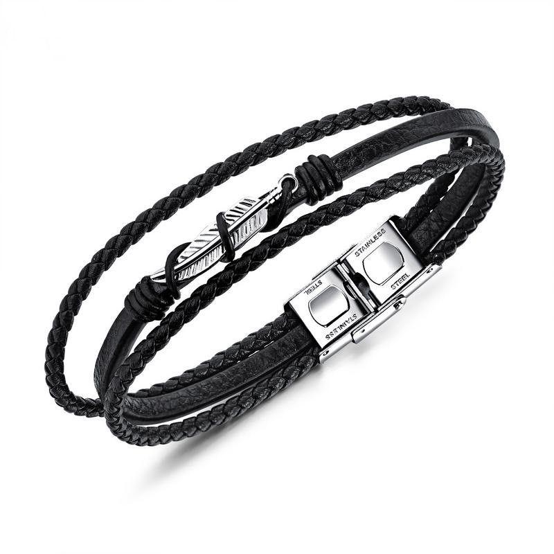 Titanium&Stainless Steel Fashion Geometric bracelet  (Leather bracelet) NHOP1638-Leather bracelet