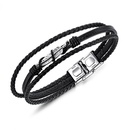 TitaniumStainless Steel Fashion Geometric bracelet  Leather bracelet NHOP1638Leather bracelet