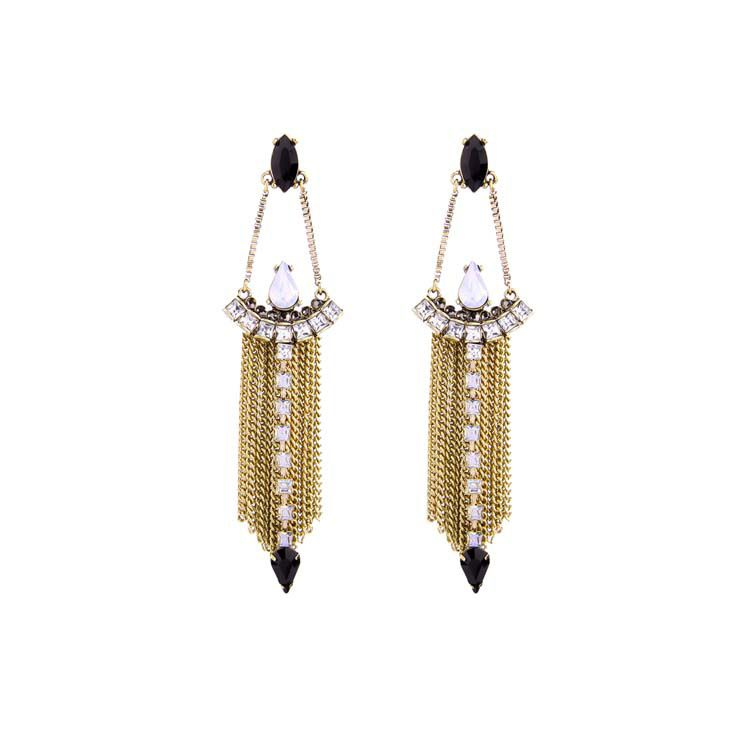 Alloy Fashion Tassel earring  Black 1 NHQD4405Black 1