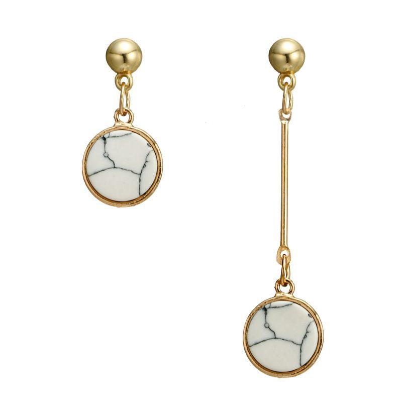 Alloy Vintage Geometric earring  White circle NHGY1049White circle