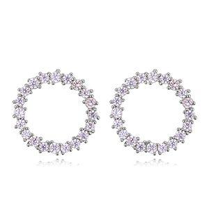 S925 Alloy Needle AAA Micro Stud Earrings - Love Halo (Platinum) NHKSE27334