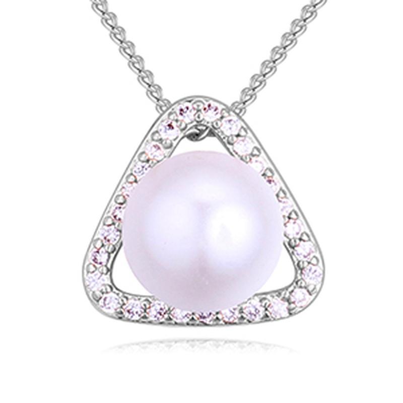 AAA Micro Inlay Zircon Necklace - Sea Princess (Platinum) NHKSE27316