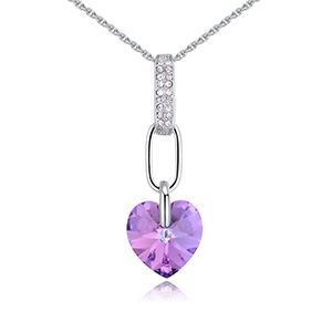 Austrian imitated crystal necklace  heart purple NHKSE27251