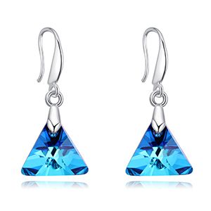 Austrian imitated crystal earrings - Love support (blue light) NHKSE27403
