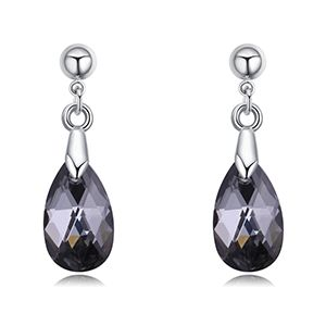 Austrian imitated crystal earrings  Tears black rhinestones NHKSE27391