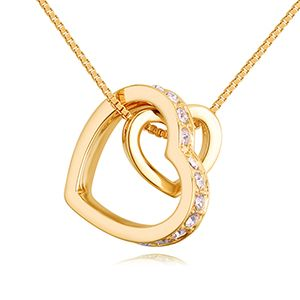 Imported imitated crystal necklace A paragraph - the wind with the heart (champagne alloy) NHKSE27363