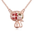Alloyplated imitated crystal necklace  playful cat platinum NHKSE27244