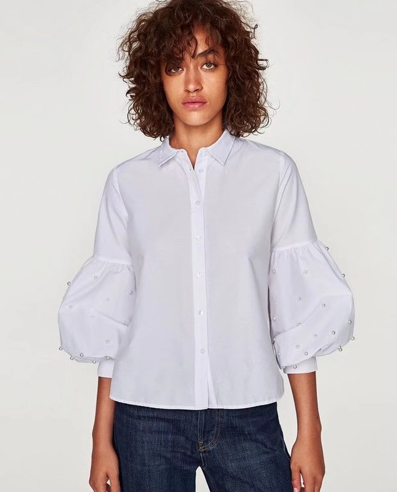 Sexy & Party Polyester  shirt  (White-S)  NHAM1425-White-S