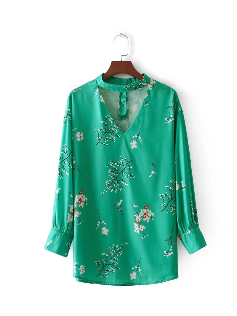 Sexy & Party Chiffon  shirt  (Green-s)  NHAM1423-Green-s