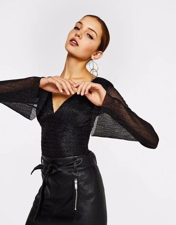 Sexy & Party Polyester  Rompers  (Black-S)  NHAM1441-Black-S