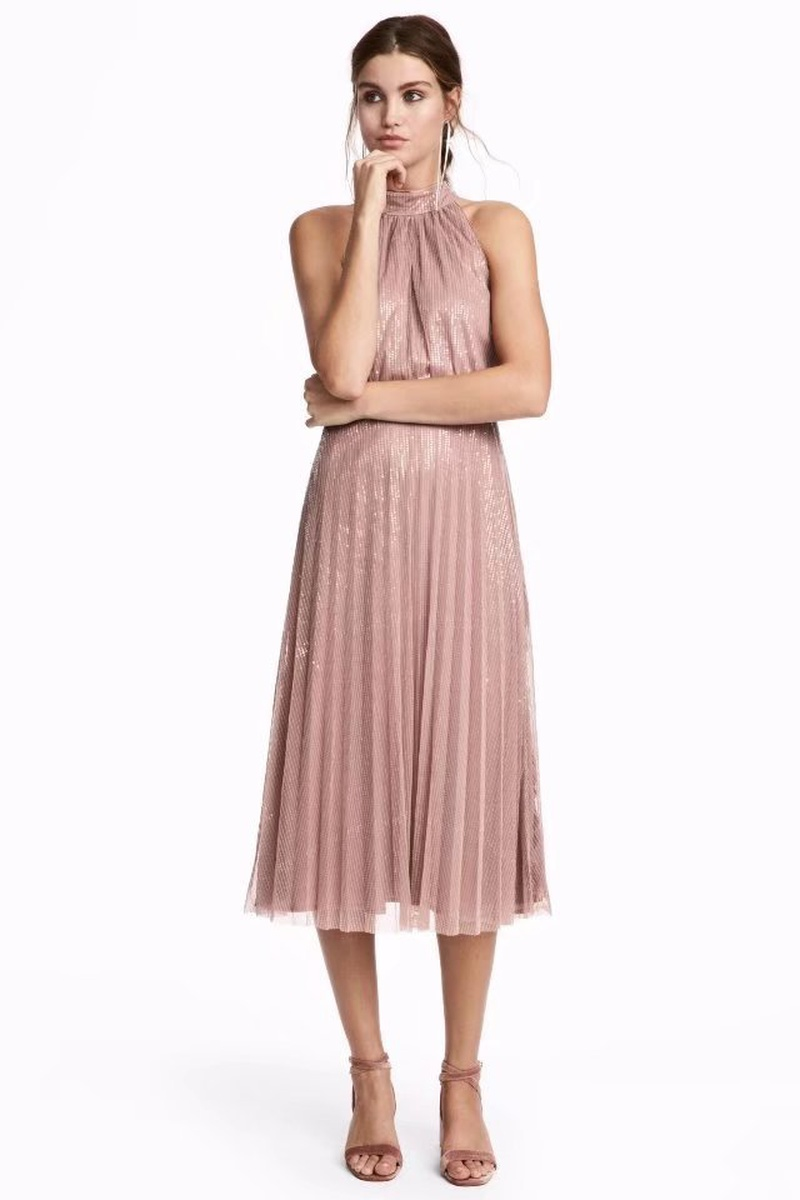 Sexy & Party Polyester  dress  (Pink -S)  NHAM1457-Pink -S