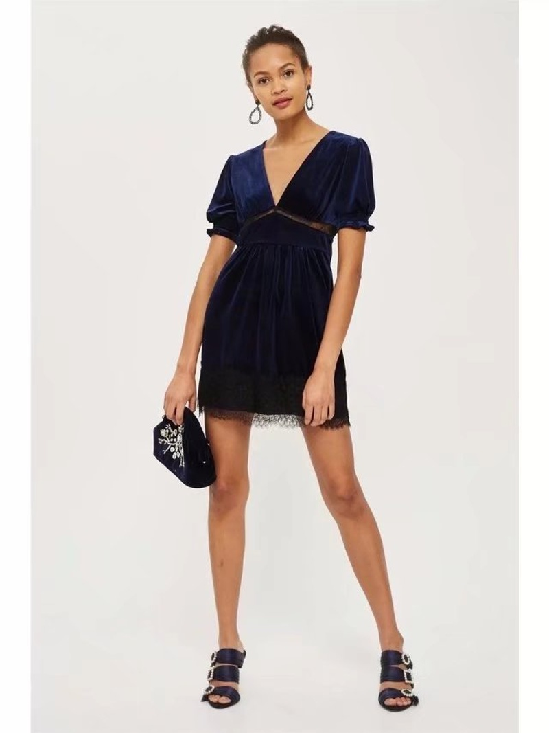 Sexy & Party Polyester  dress  (Hide blue -S)  NHAM1465-Hide blue -S