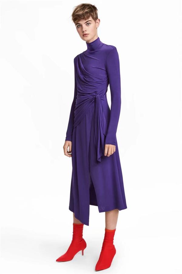 Sexy & Party Polyester  dress  (Purple-s)  NHAM1497-Purple-s