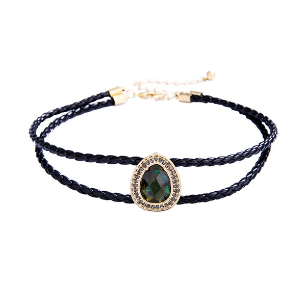 Fashion Alloy Rhinestone necklace Geometric (black)  NHQD4367-black
