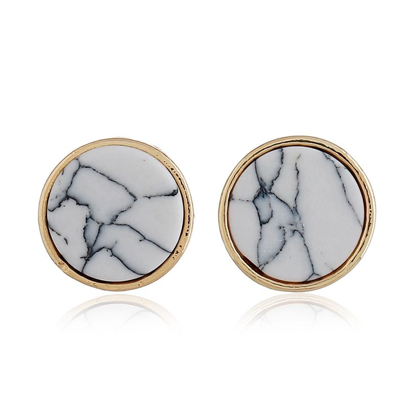 Simple Alloy plating earring Geometric (white)  NHNZ0327-white