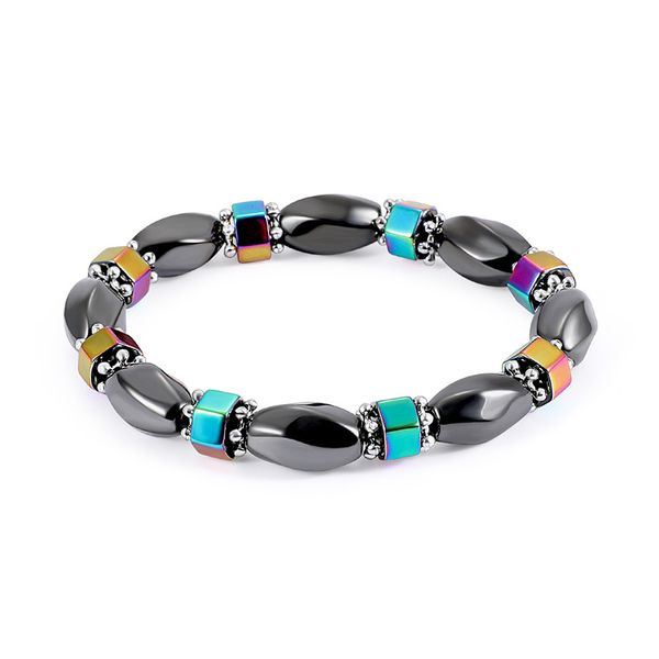 Fashion Natural Stone Inlaid precious stones Bracelets Geometric (Steel color)  NHLP0907-Steel color