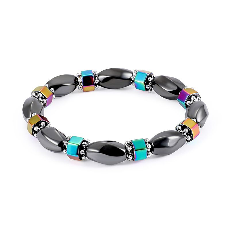 Fashion Natural Stone Inlaid precious stones Bracelets Geometric (Steel color)  NHLP0907-Steel color