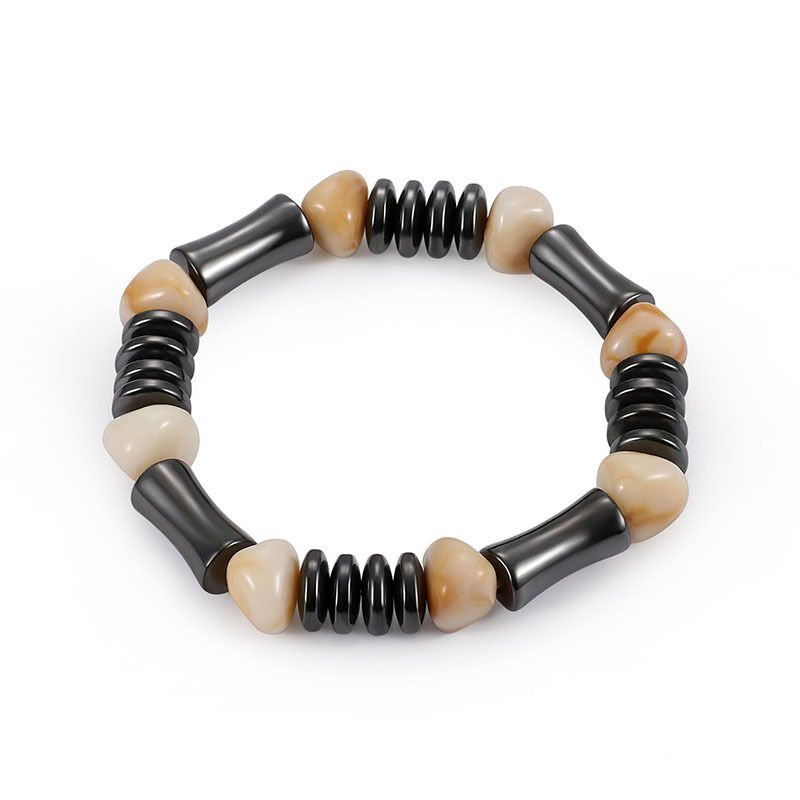 Fashion Natural Stone Inlaid precious stones Bracelets Geometric Steel color  NHLP0908Steel color