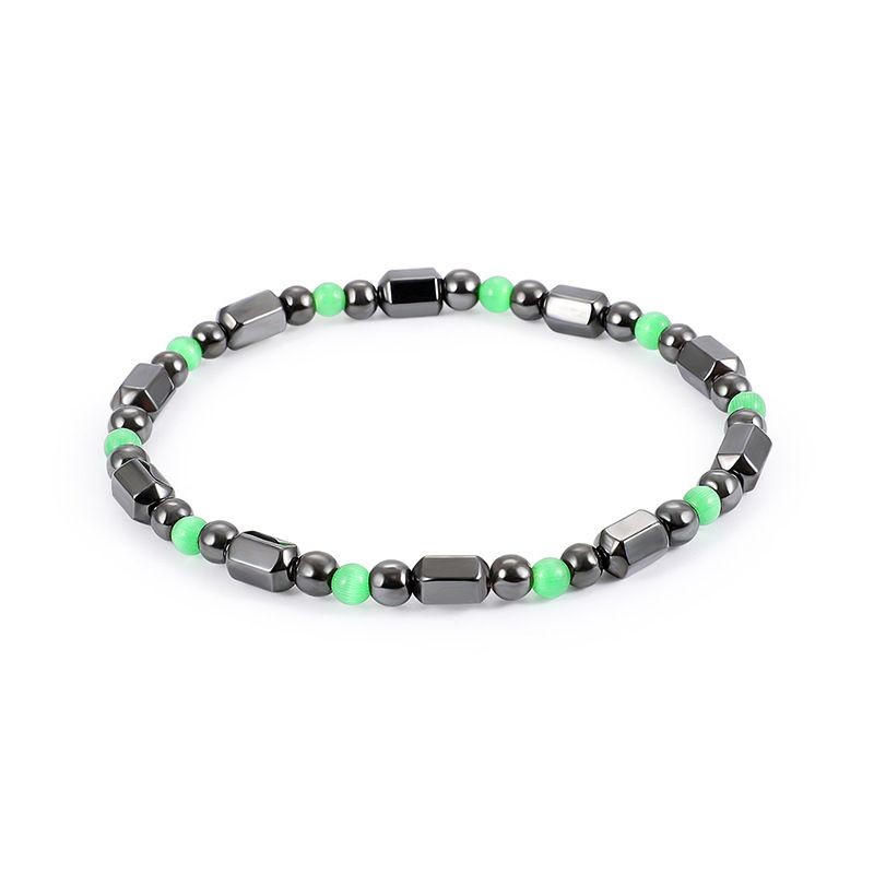 Fashion Natural Stone Inlaid precious stones Bracelets Geometric (Steel color)  NHLP0912-Steel color