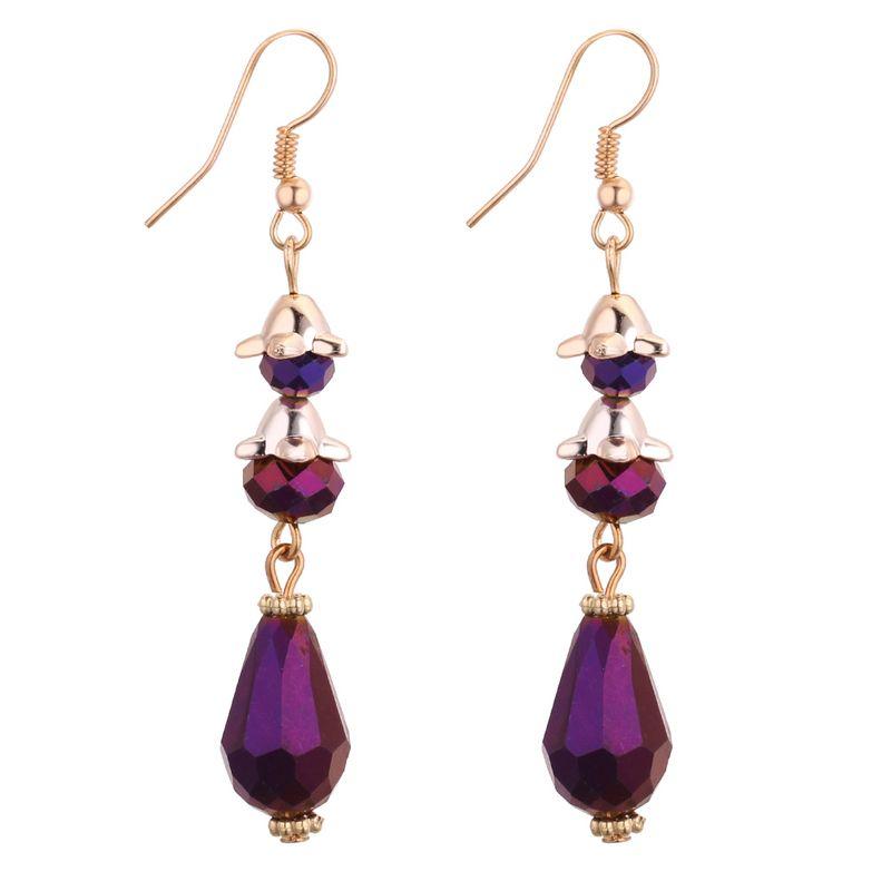 Korean fashion temperament long drop earrings (purple) NHNPS3769