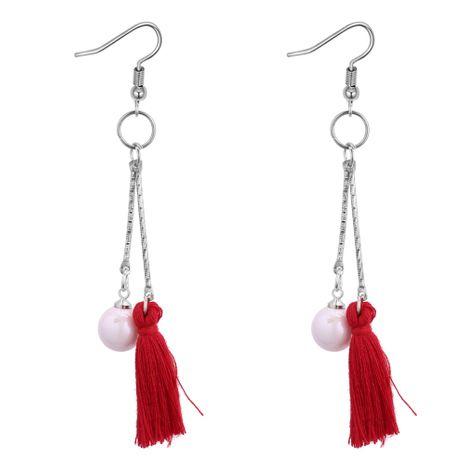 Korean fashion trend beads wool tassel earrings (red) NHNPS3779's discount tags