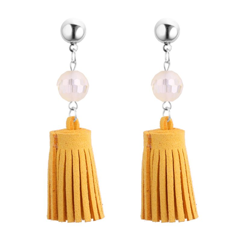 Korean fashion personalized ball tassel stud earrings (yellow) NHNPS3790