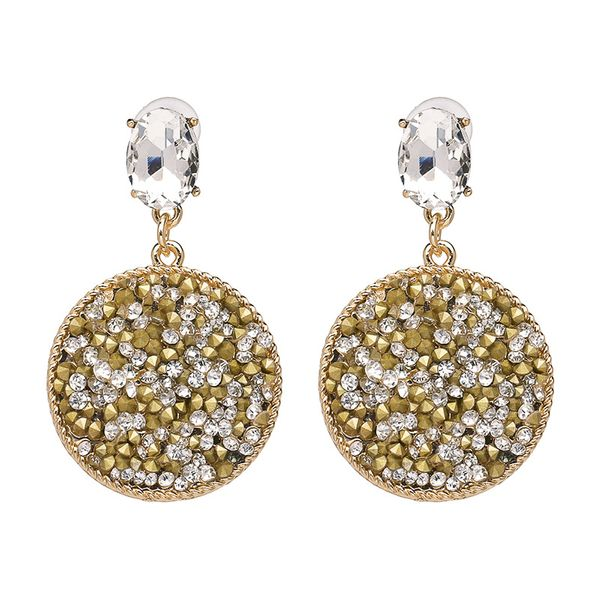 Fashion Imitated crystal&CZ earring Geometric NHJJ3953-Yellow and white