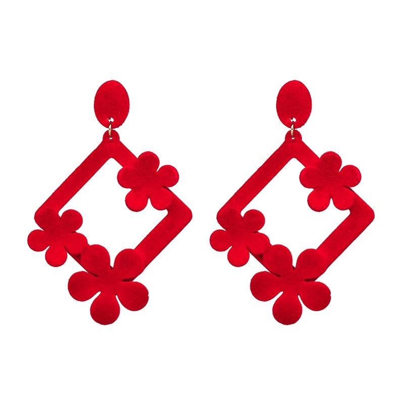 Fashion Cloth earring Flowers NHJJ3937-red