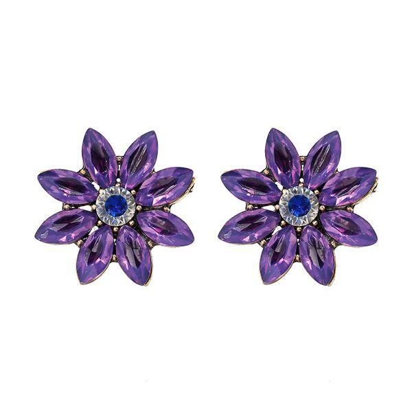 Korea Imitated crystal&CZ earring Flowers NHJJ3944-purple