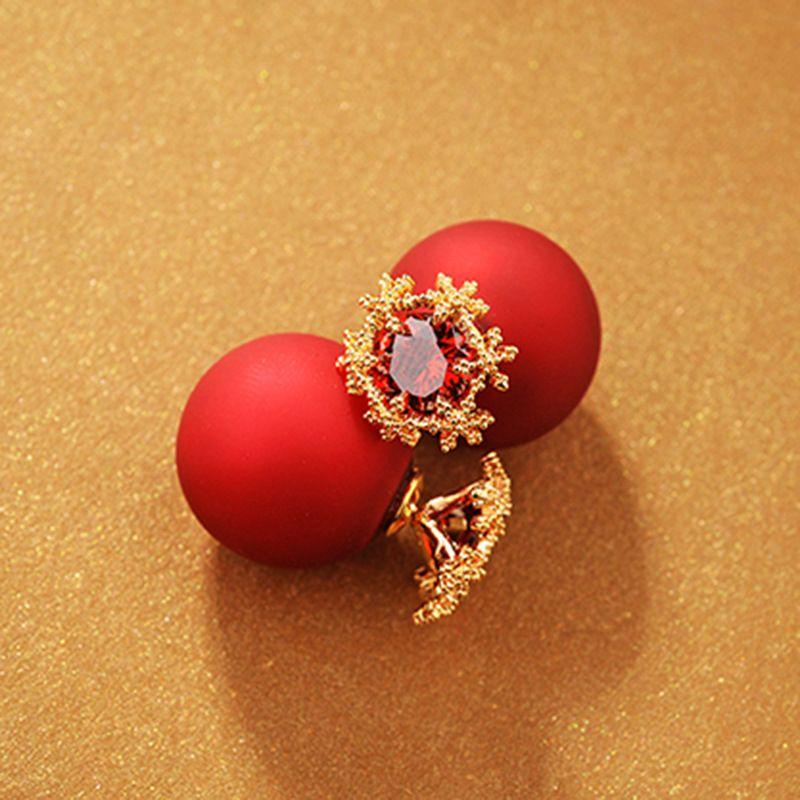 Korea Copper earring Flowers NHLJ3631-Red alloy red stone