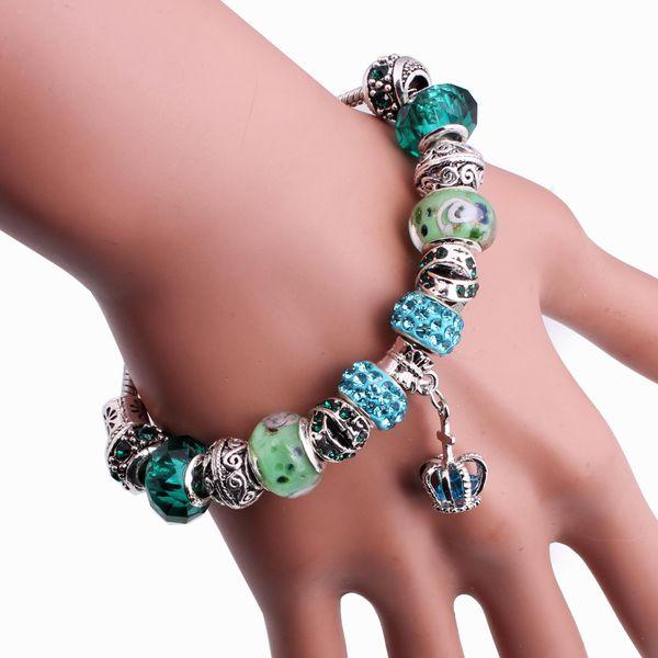 Fashion Imitated crystal&CZ  Bracelets Geometric (green)  NHMM2119-green