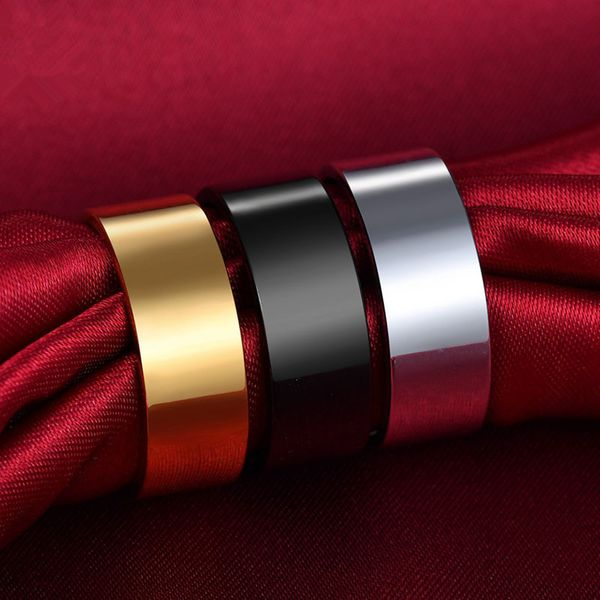 Titanium&Stainless Steel Simple Geometric Ring  (Black-7) NHHF1106-Black-7