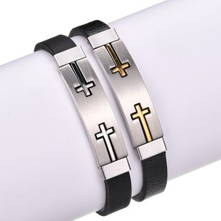 Titanium&Stainless Steel Fashion Geometric bracelet  (Steel color) NHHF1125-Steel-color's discount tags