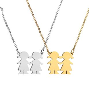 Titanium&Stainless Steel Fashion Cartoon necklace  (Steel color) NHHF1139-Steel-color's discount tags