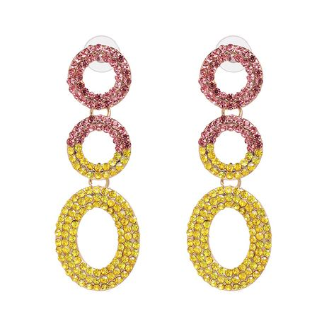 Alloy Fashion Geometric earring  (Powder + yellow) NHJJ5293-Powder-yellow's discount tags