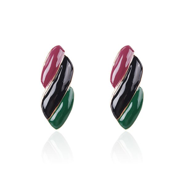 Alloy Fashion Geometric earring  (Purple black green) NHMD4912-Purple-black-green