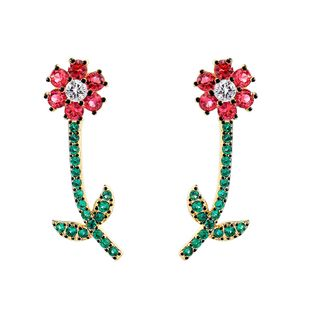 Copper Korea Flowers earring  (Red-1) NHQD5798-Red-1's discount tags