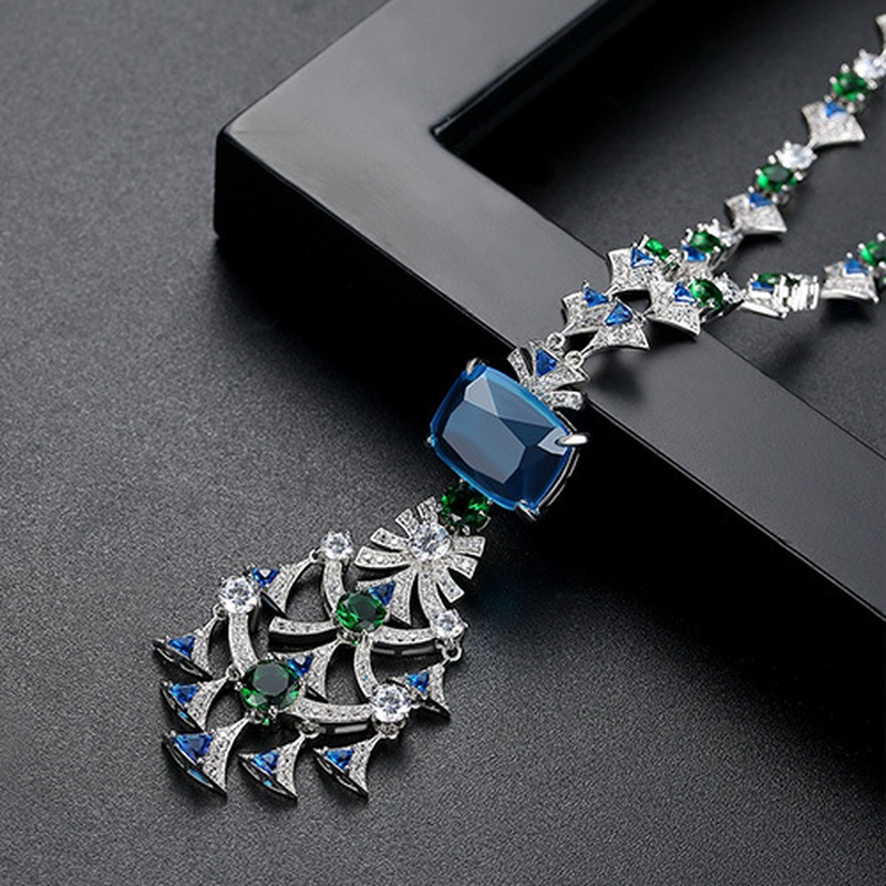 Alloy Fashion Geometric necklace  blueT21D14 NHTM0435blueT21D14