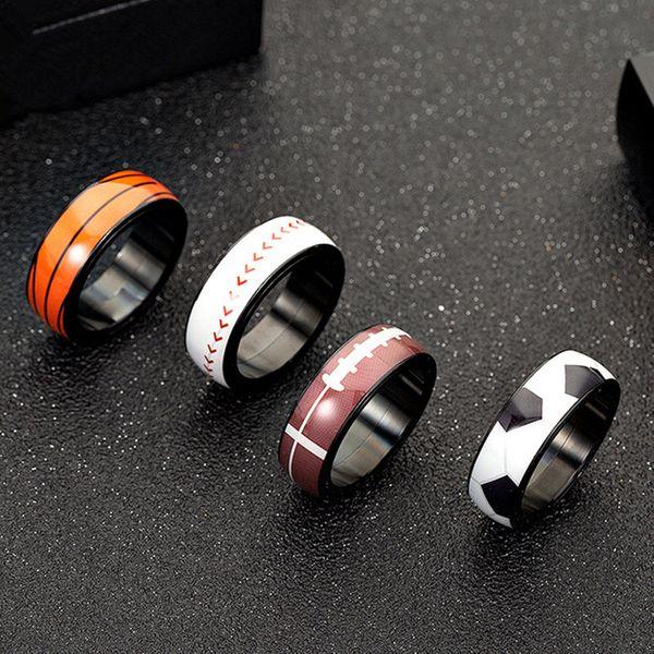 Titanium&Stainless Steel Fashion Geometric Ring  (Football-6) NHHF1170-Football-6