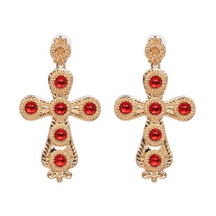 Alloy Fashion Cross earring  (red) NHJJ5308-red's discount tags
