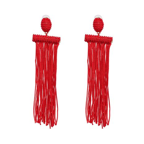 Cloth Fashion Tassel earring  (red) NHJJ5321-red's discount tags